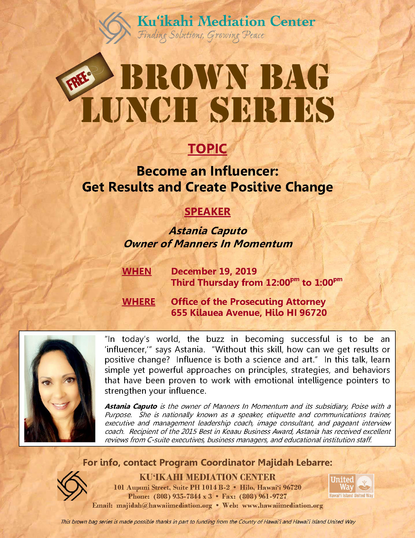 Flyer- Brown Bag 12-19-19 Astania Caputo