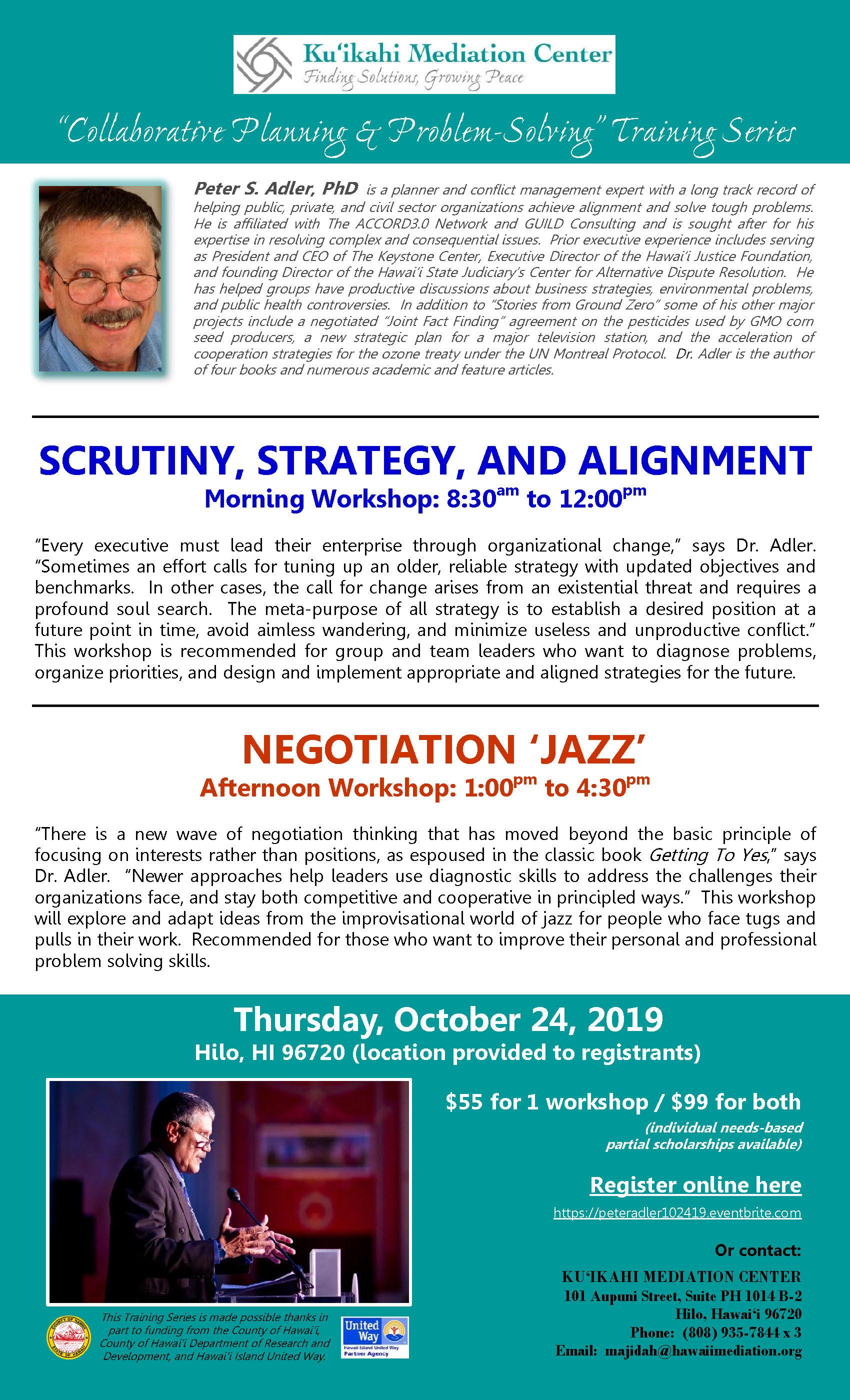 Flyer - Peter Adler Workshops 10-24-19