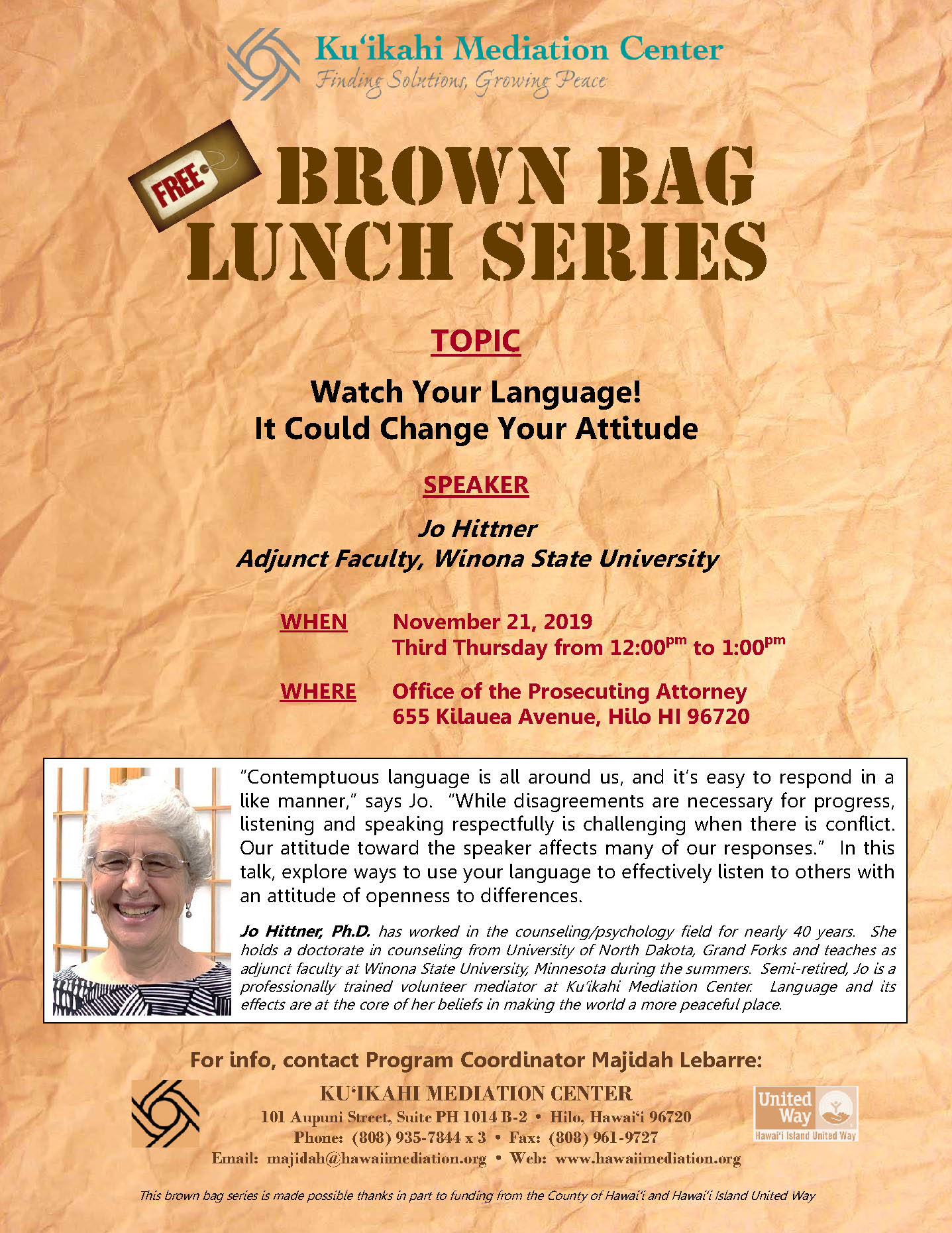 Flyer- Brown Bag Jo Hittner 11-21-19