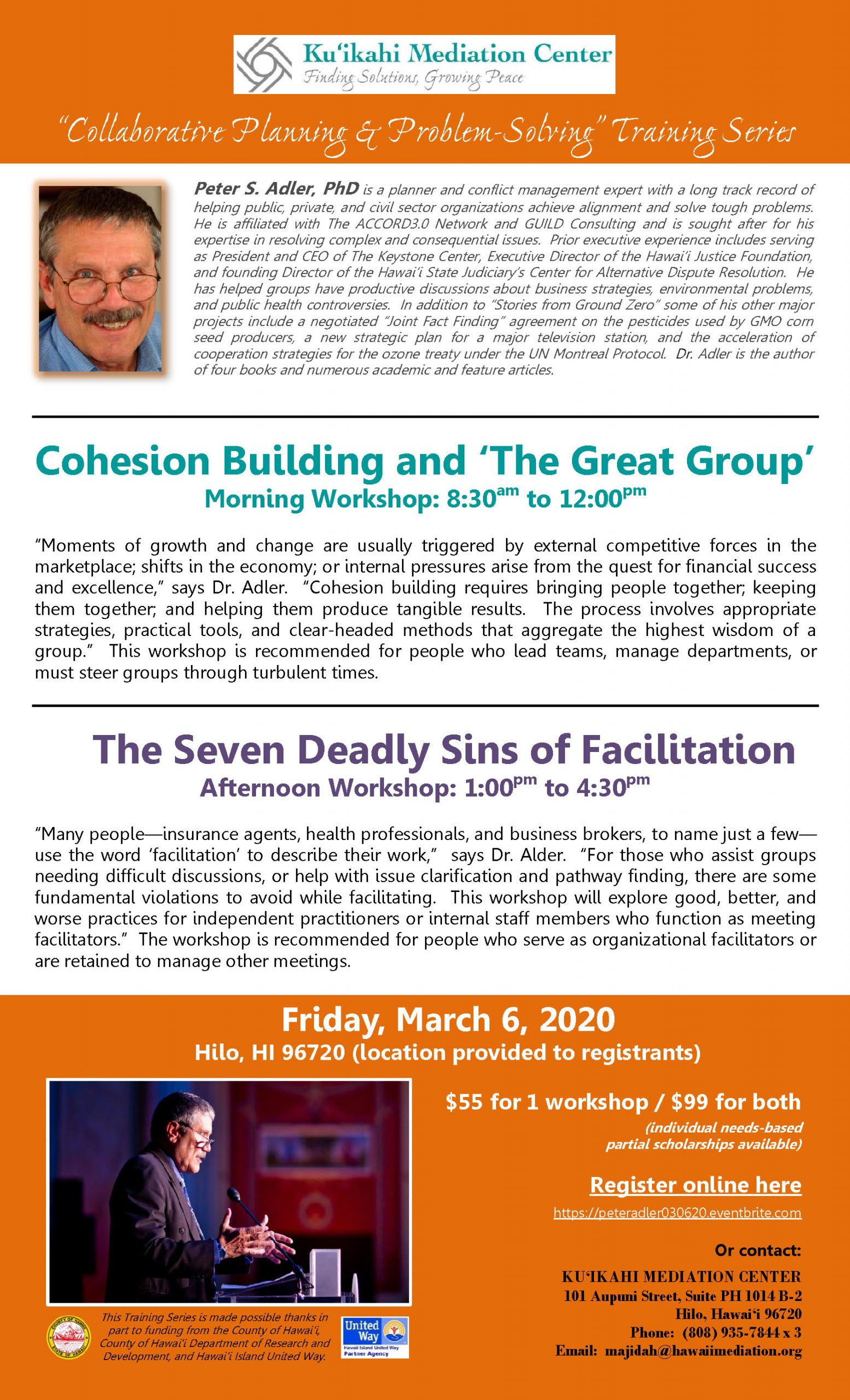 Flyer - Peter Adler Workshops 3-6-20