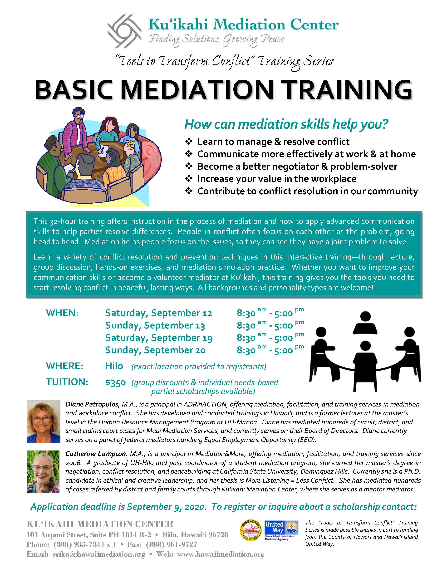 Flyer - Basic Mediation Training 2020
