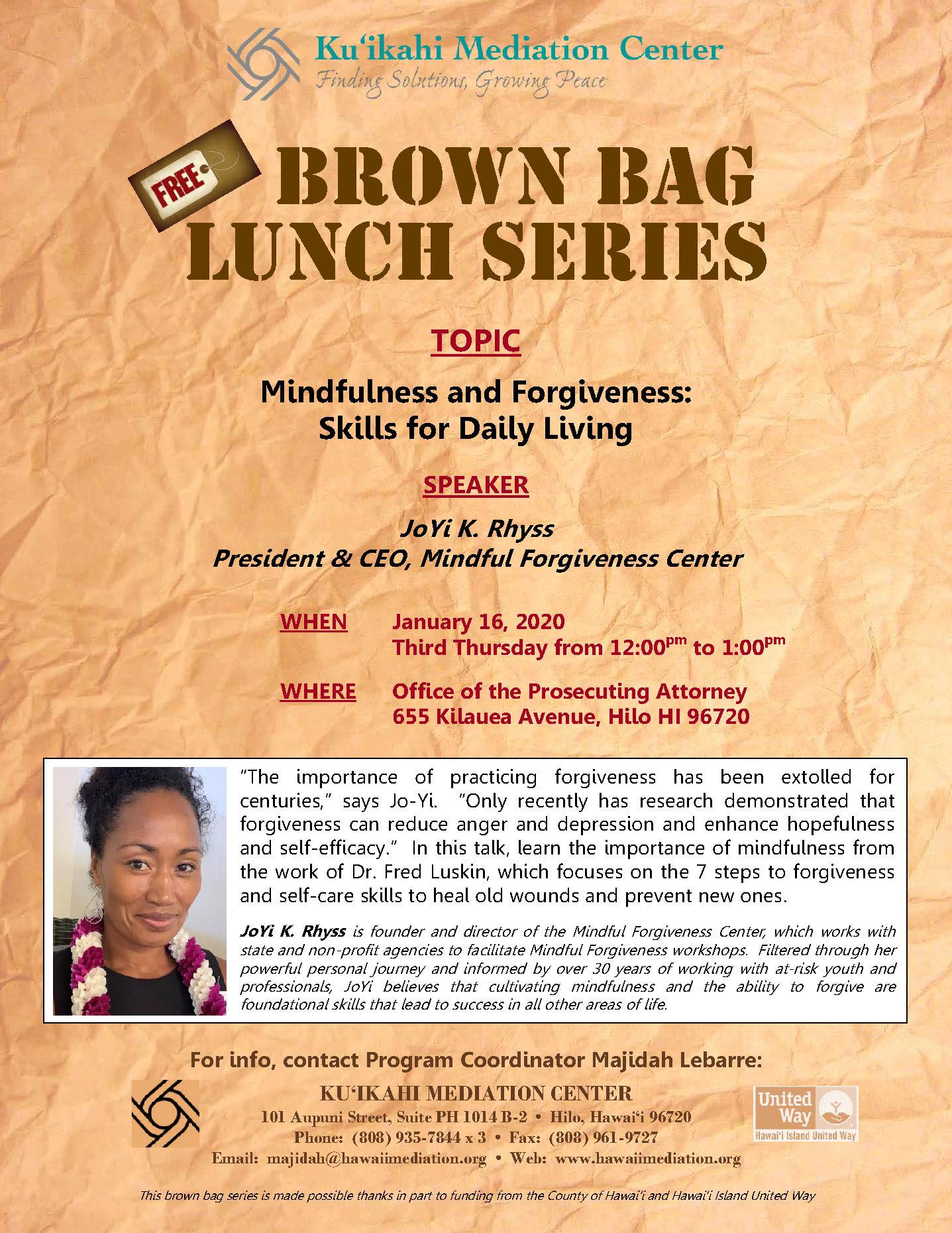 Flyer - Brown Bag JoYi Rhyss 1-16-20
