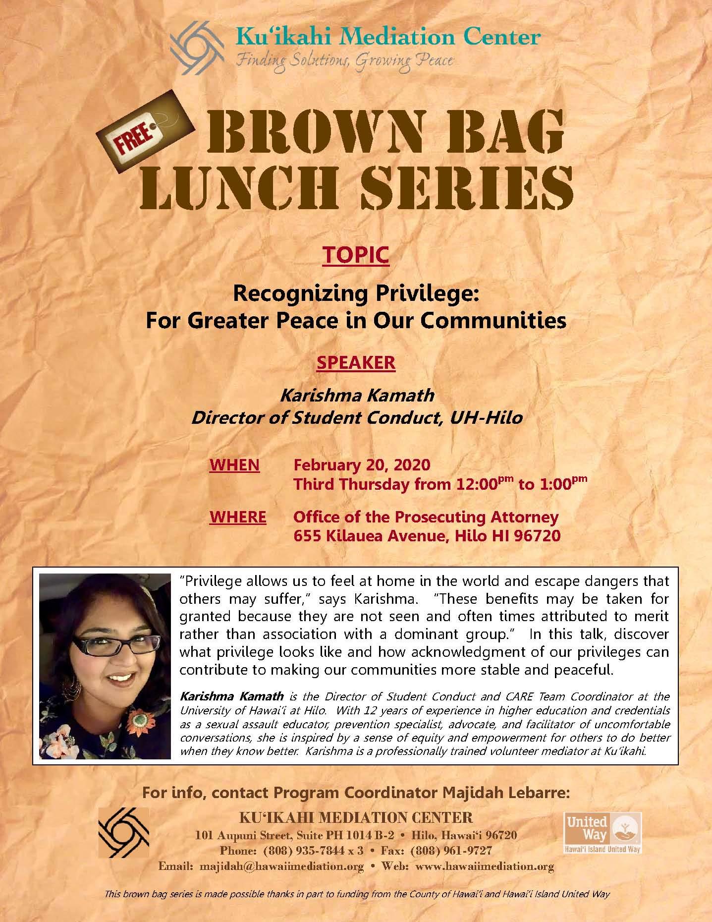 Flyer- Brown Bag Karishma Kamath 2-20-20