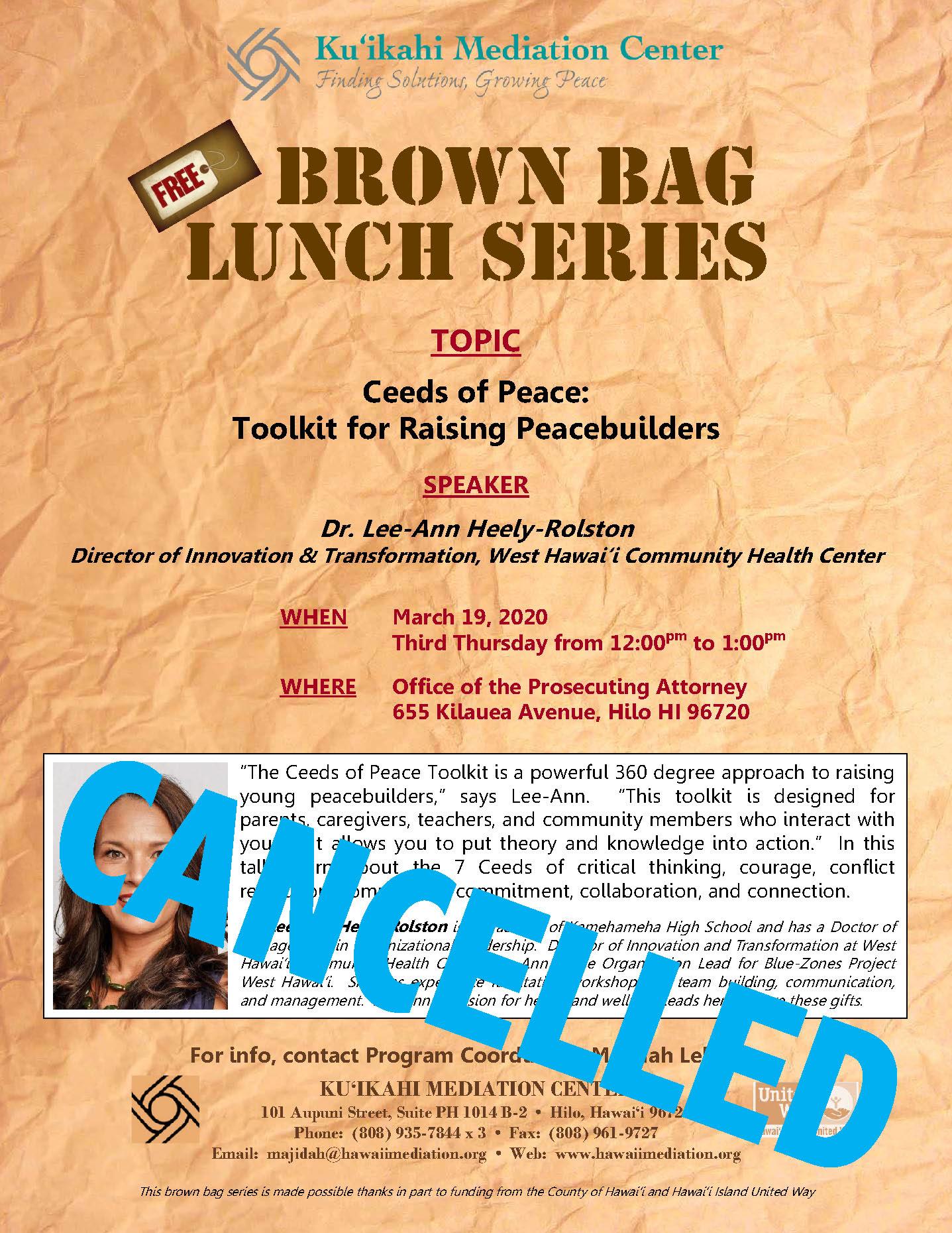 Flyer- Brown Bag Lee-Ann Heely-Rolston 3-19-20 - CANCELLED
