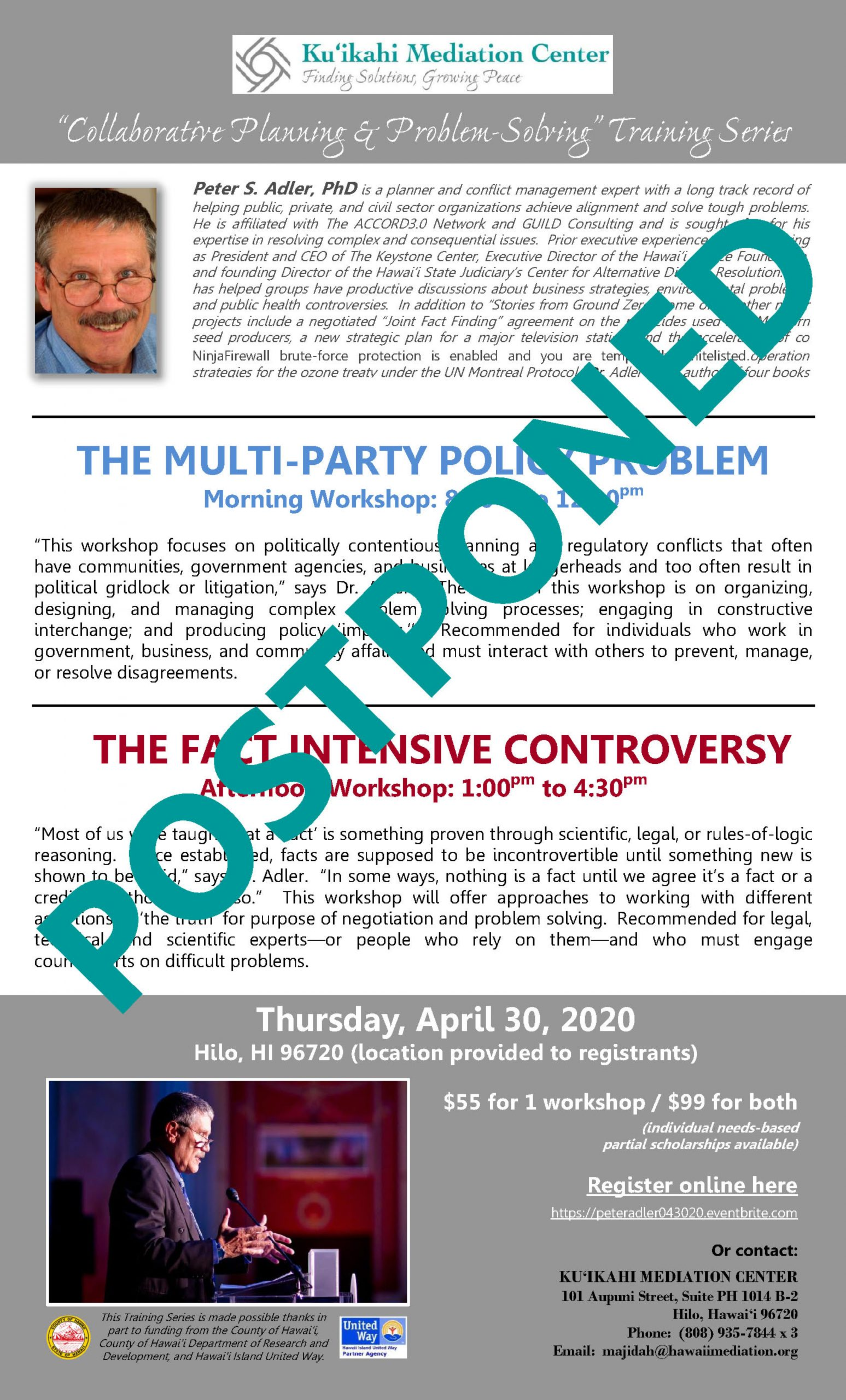 Flyer - Peter Adler Workshops 4-30-20 - POSTPONED