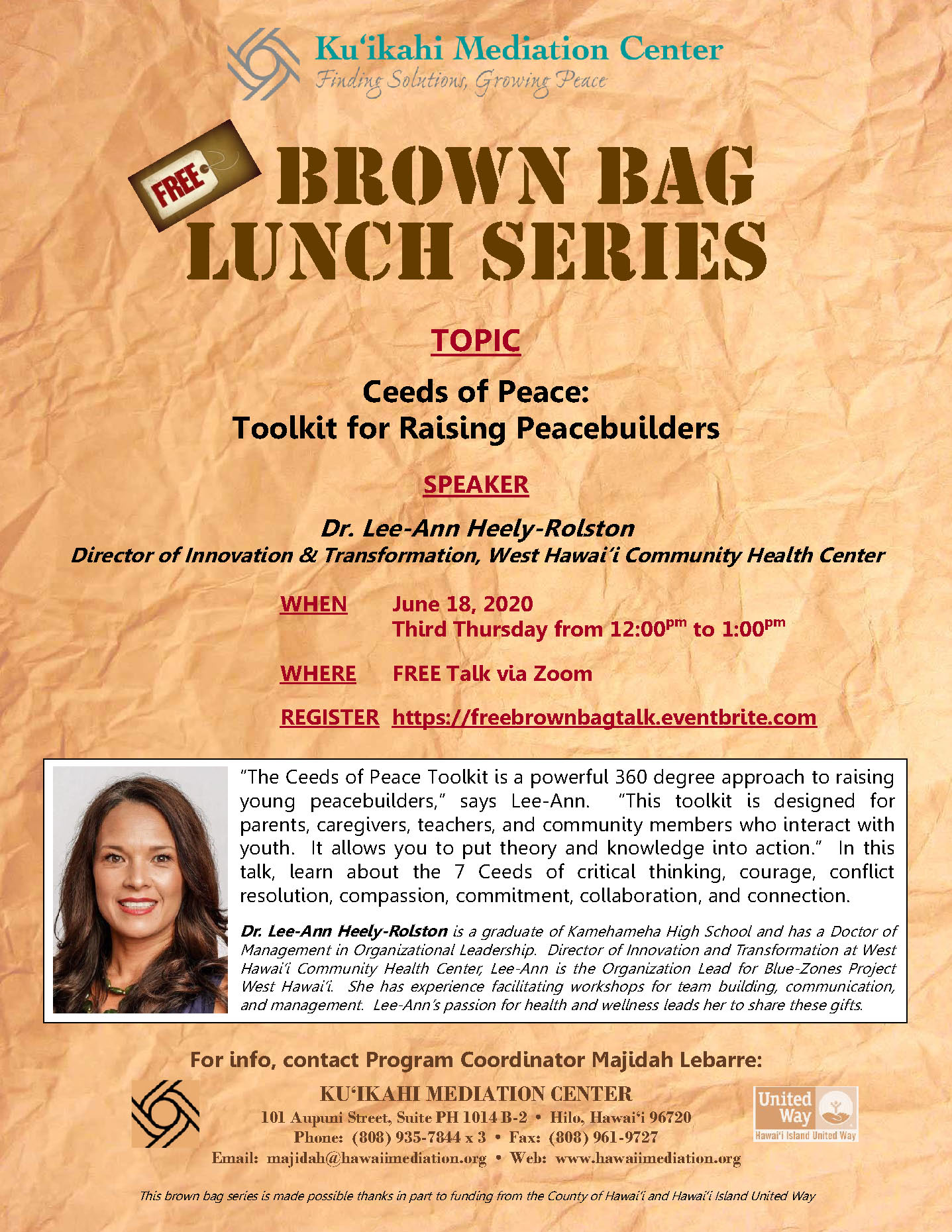 Flyer- Brown Bag Lee-Ann Heely-Rolston 6-18-20