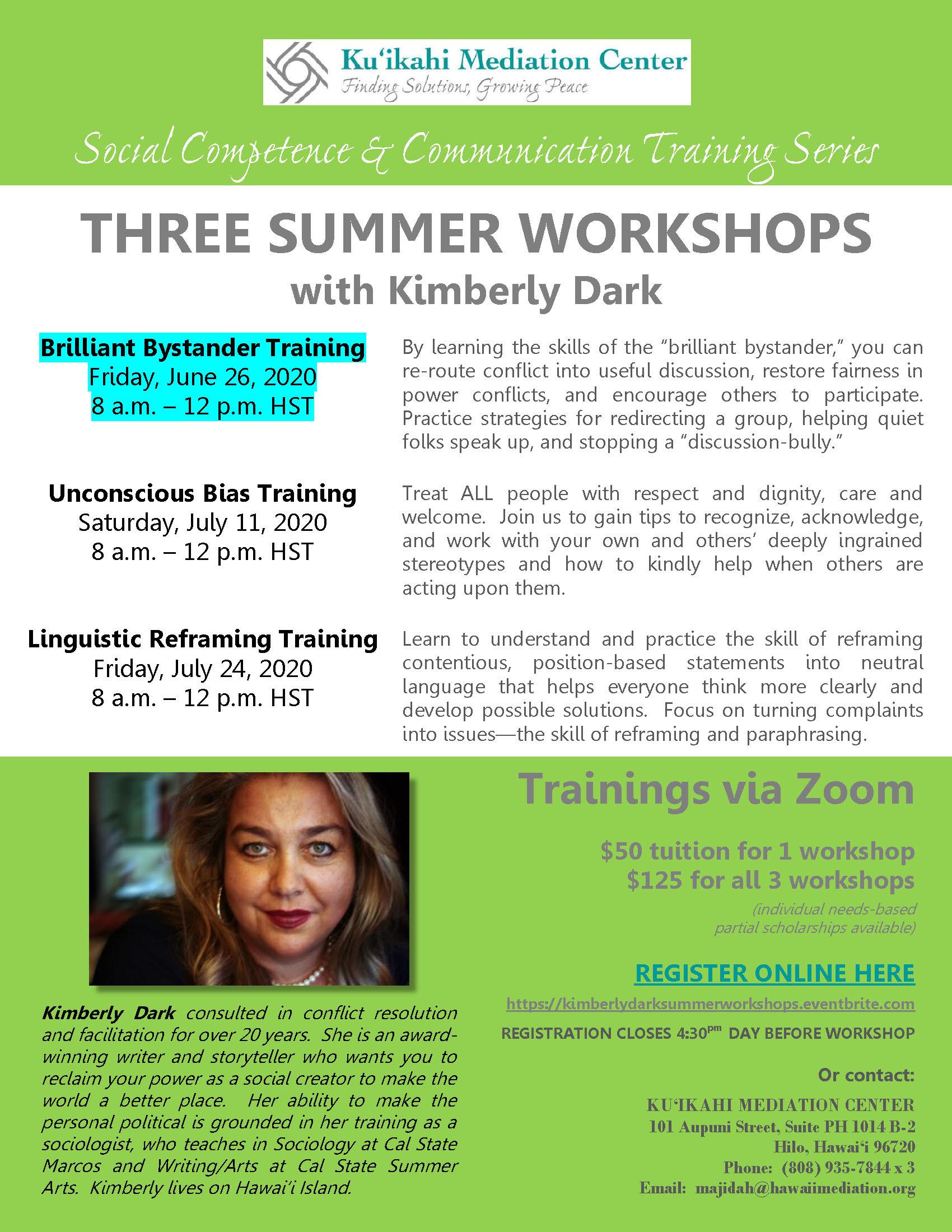 Flyer - Kimberly Dark Three Summer Workshops - Brilliant Bystander Training