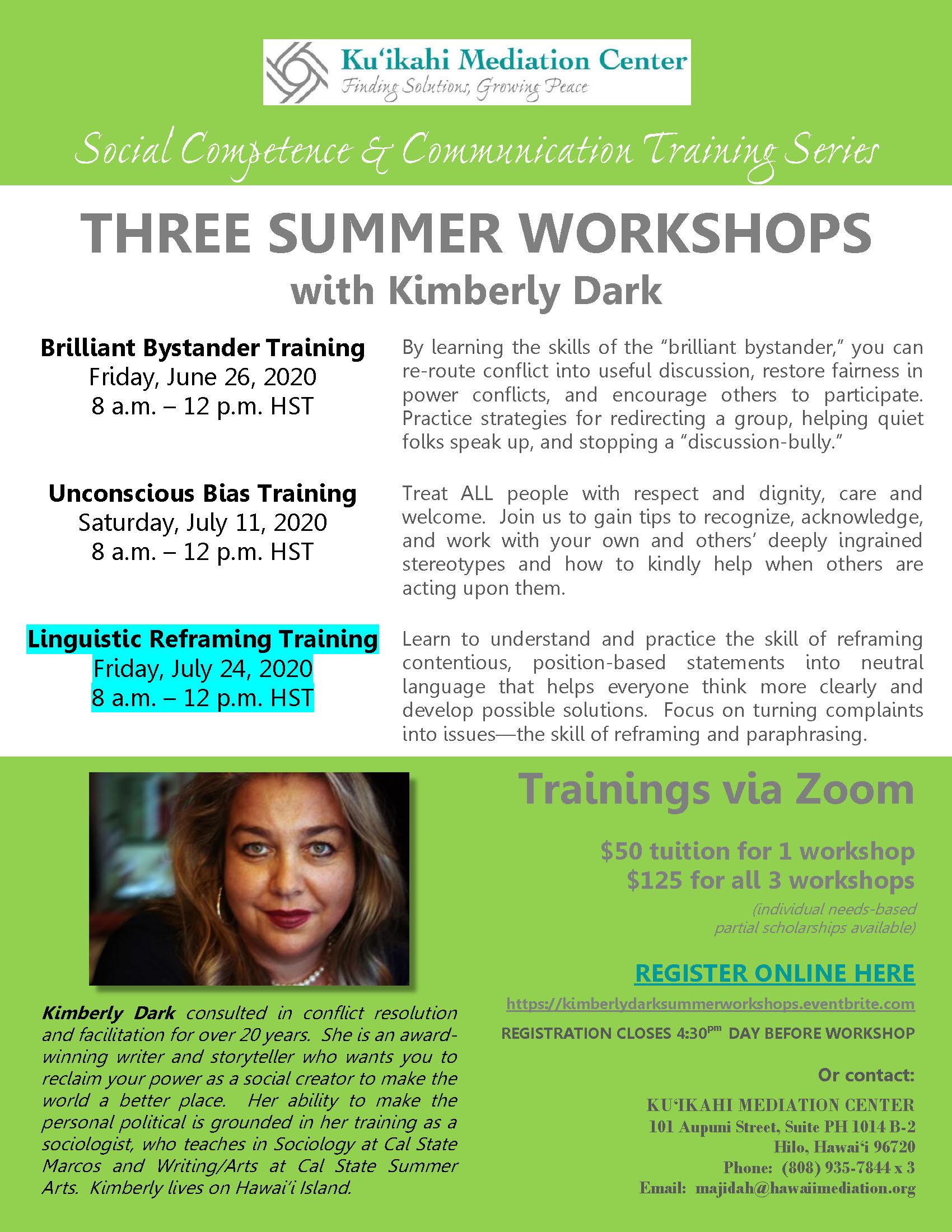 Flyer - Kimberly Dark Three Summer Workshops - Linguistic Reframing Training