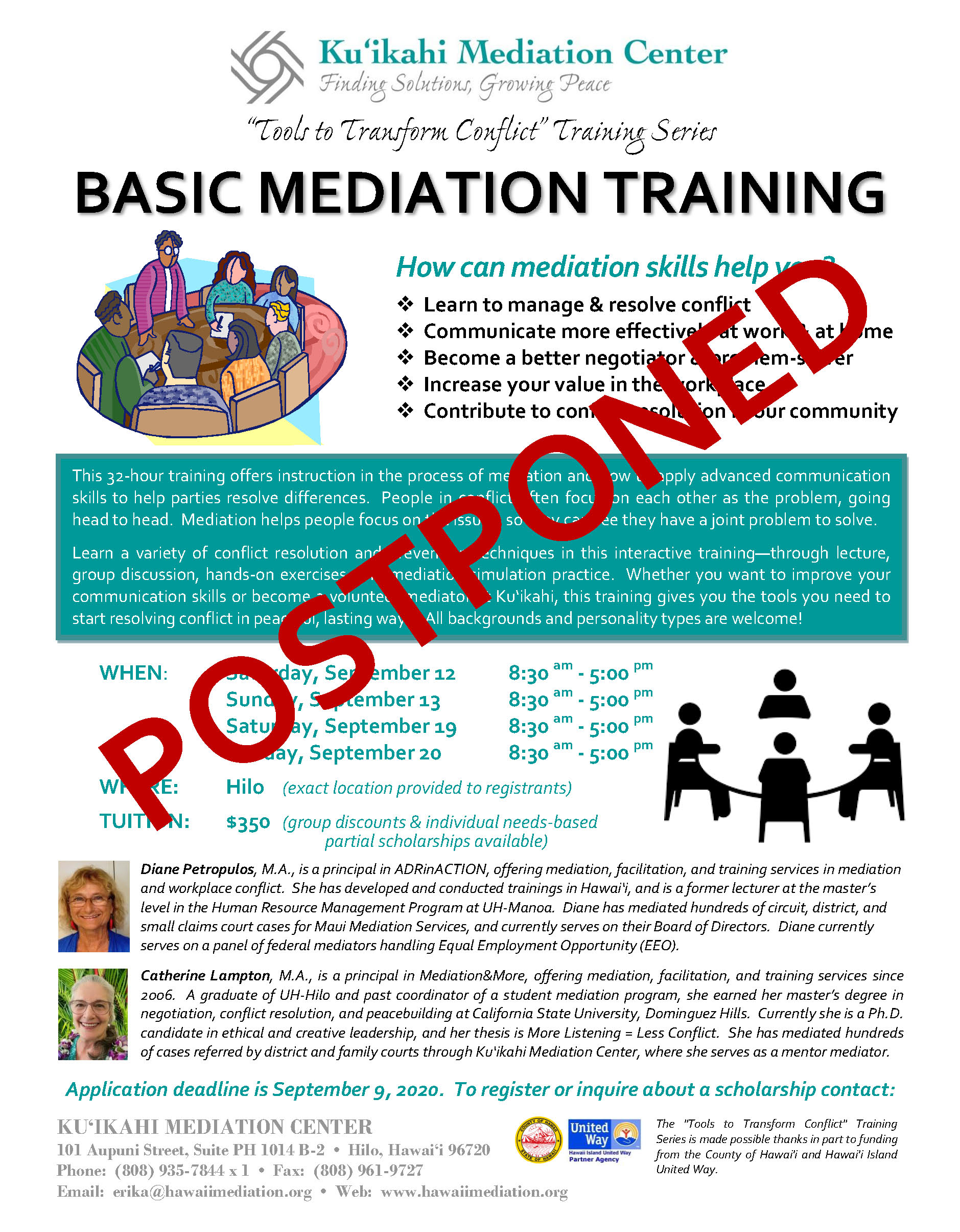 Flyer - Basic Mediation Training 2020 - POSTPONED
