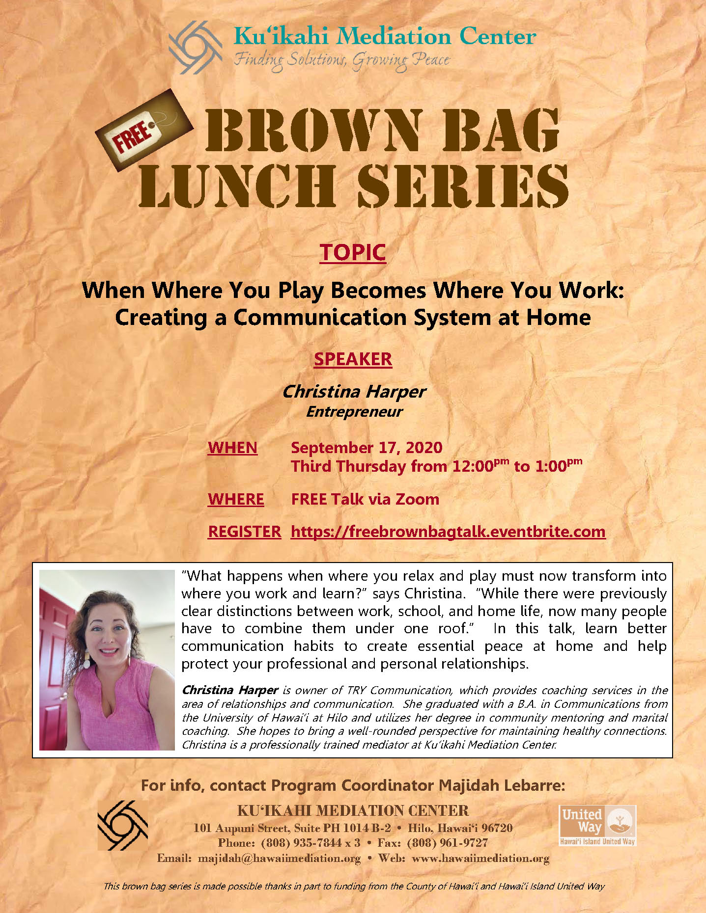 Flyer - Brown Bag 9-17-20