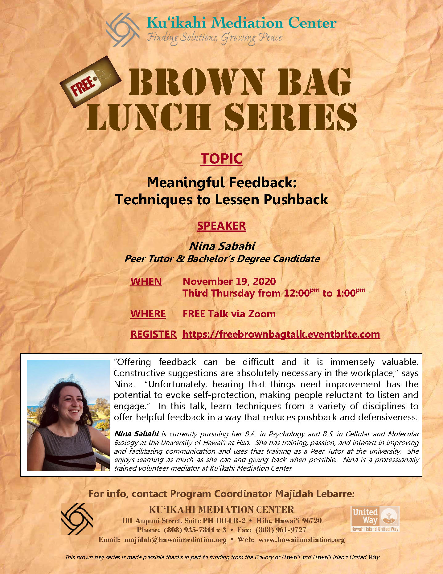 Flyer - Brown Bag 11-19-20