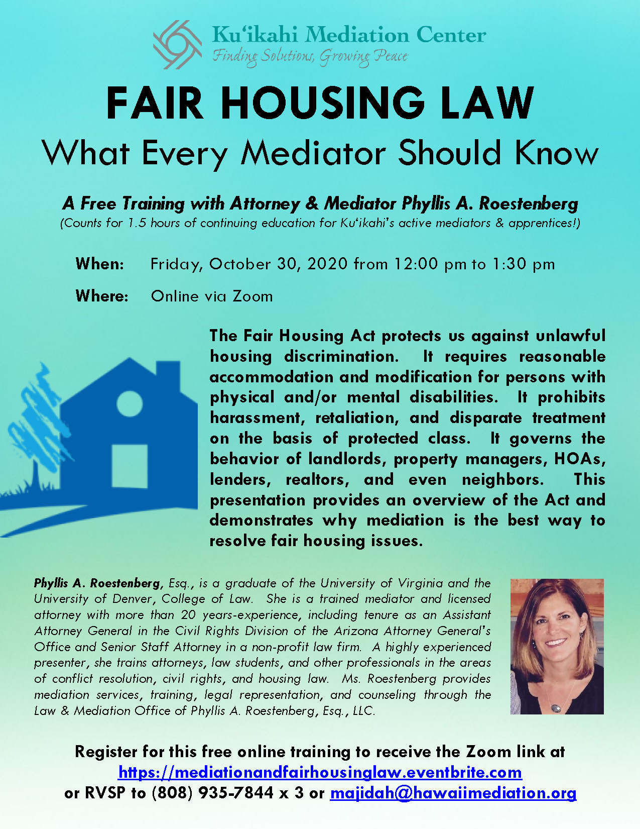 Flyer - Fair Housing Law - What Every Mediator Should Know 10-30-20