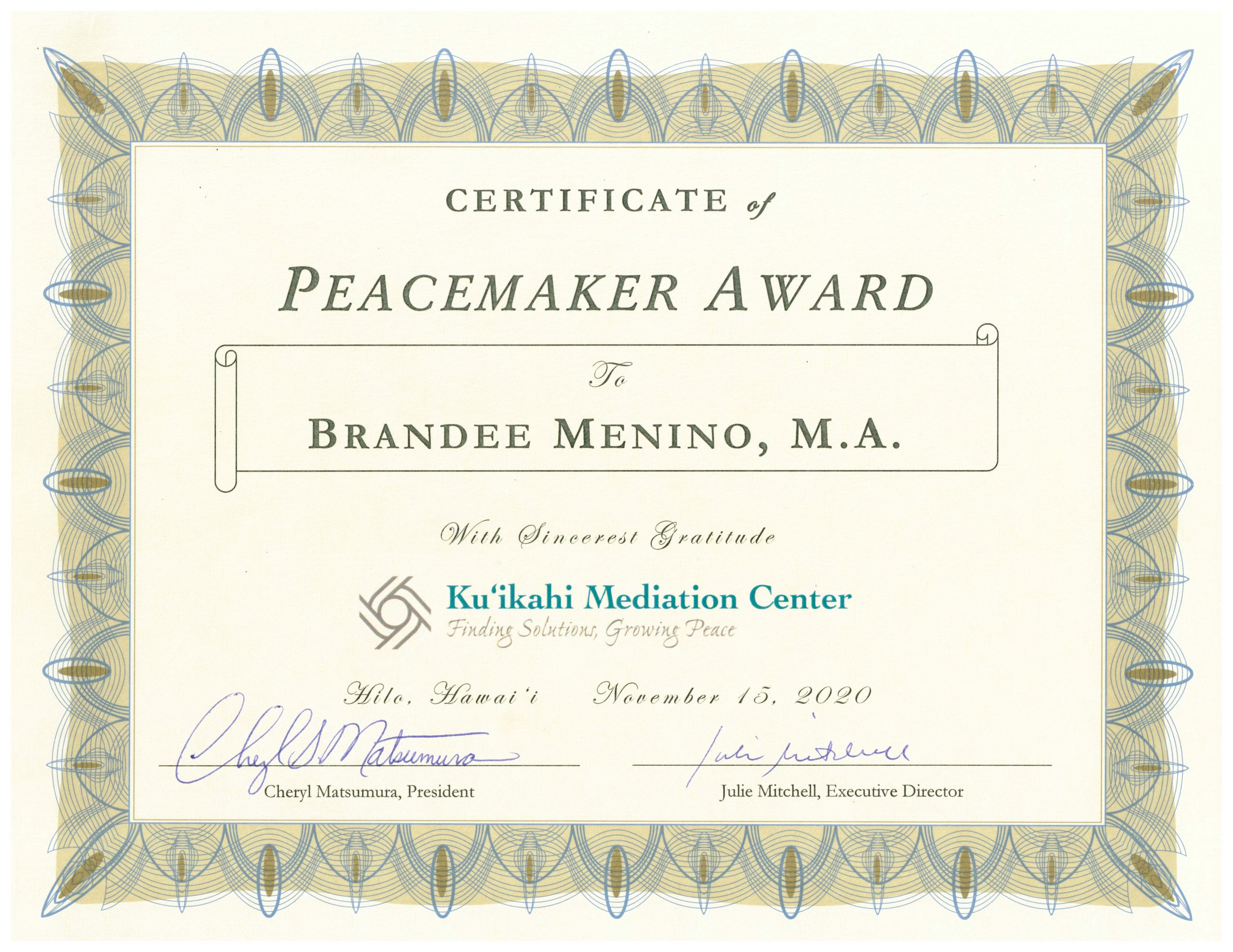 Brandee Menino - Certificate