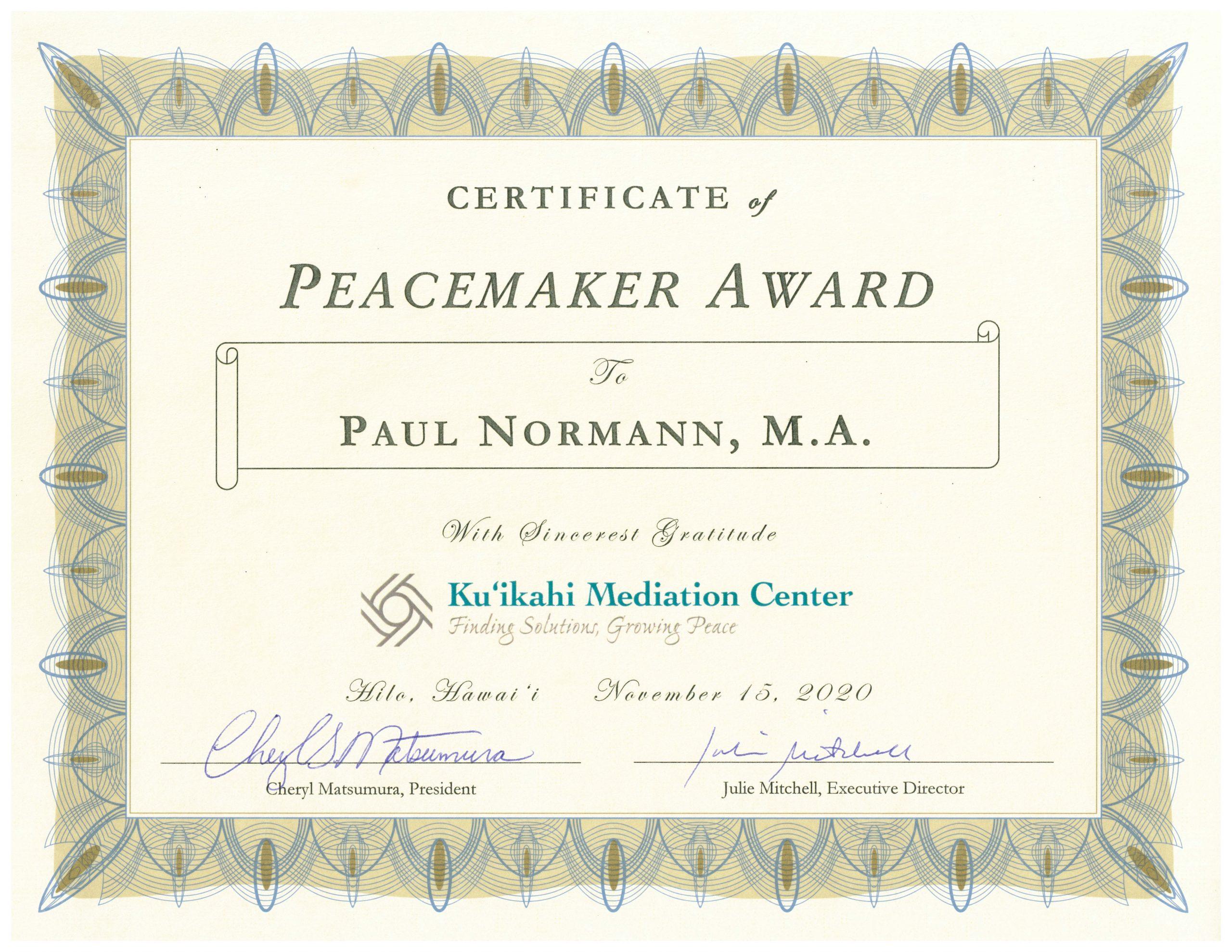 Paul Normann - Certificate