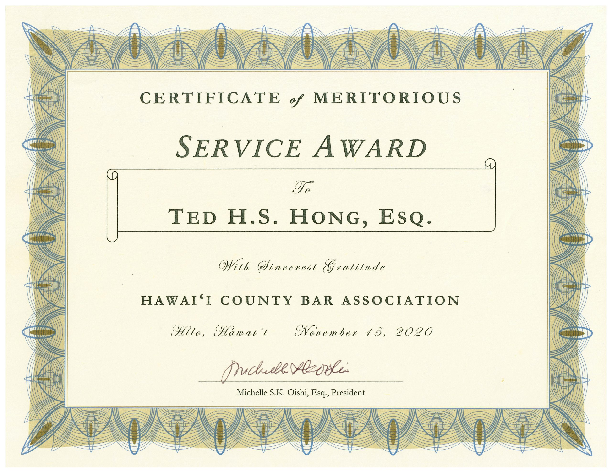 Ted Hong - Certificate