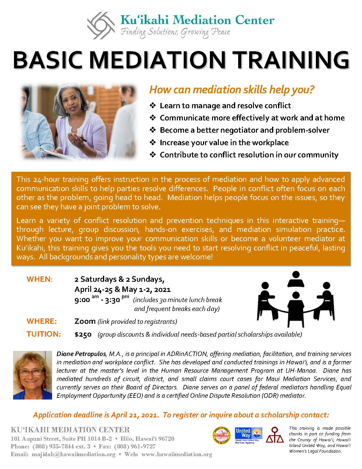 Flyer - Basic Mediation Training 2021