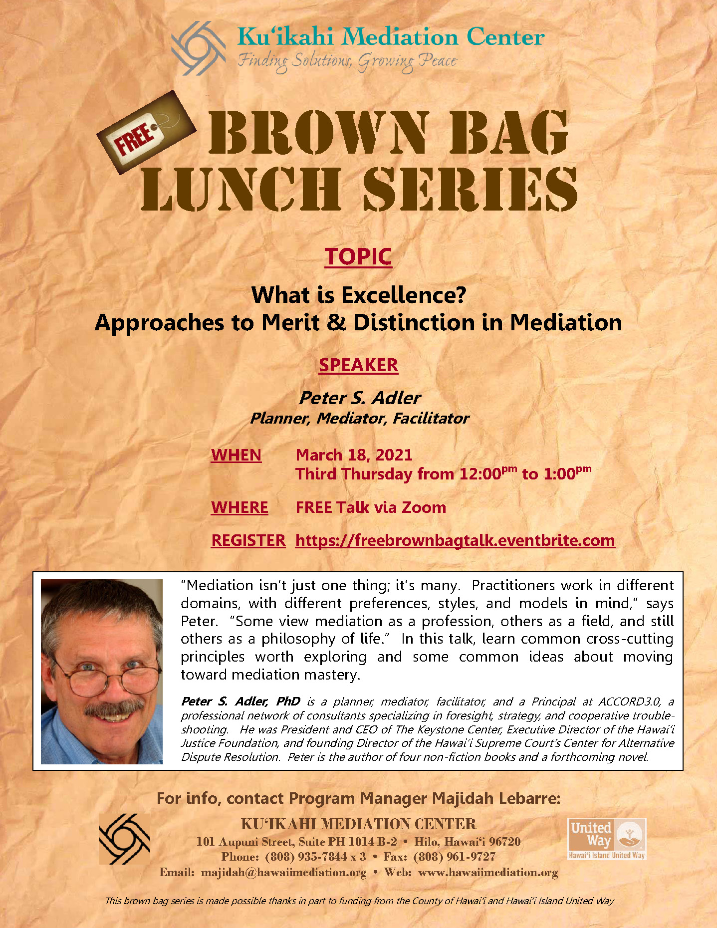 Flyer - Brown Bag What is Excellence 3-18-21