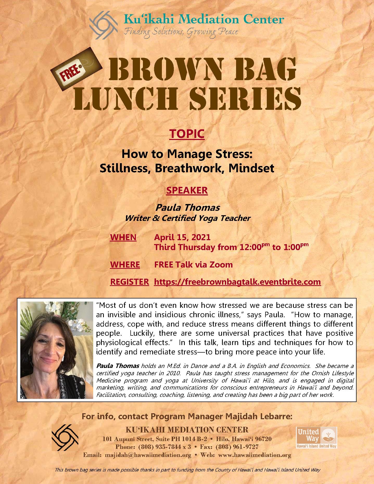 Flyer - Brown Bag Paula Thomas 4-15-21
