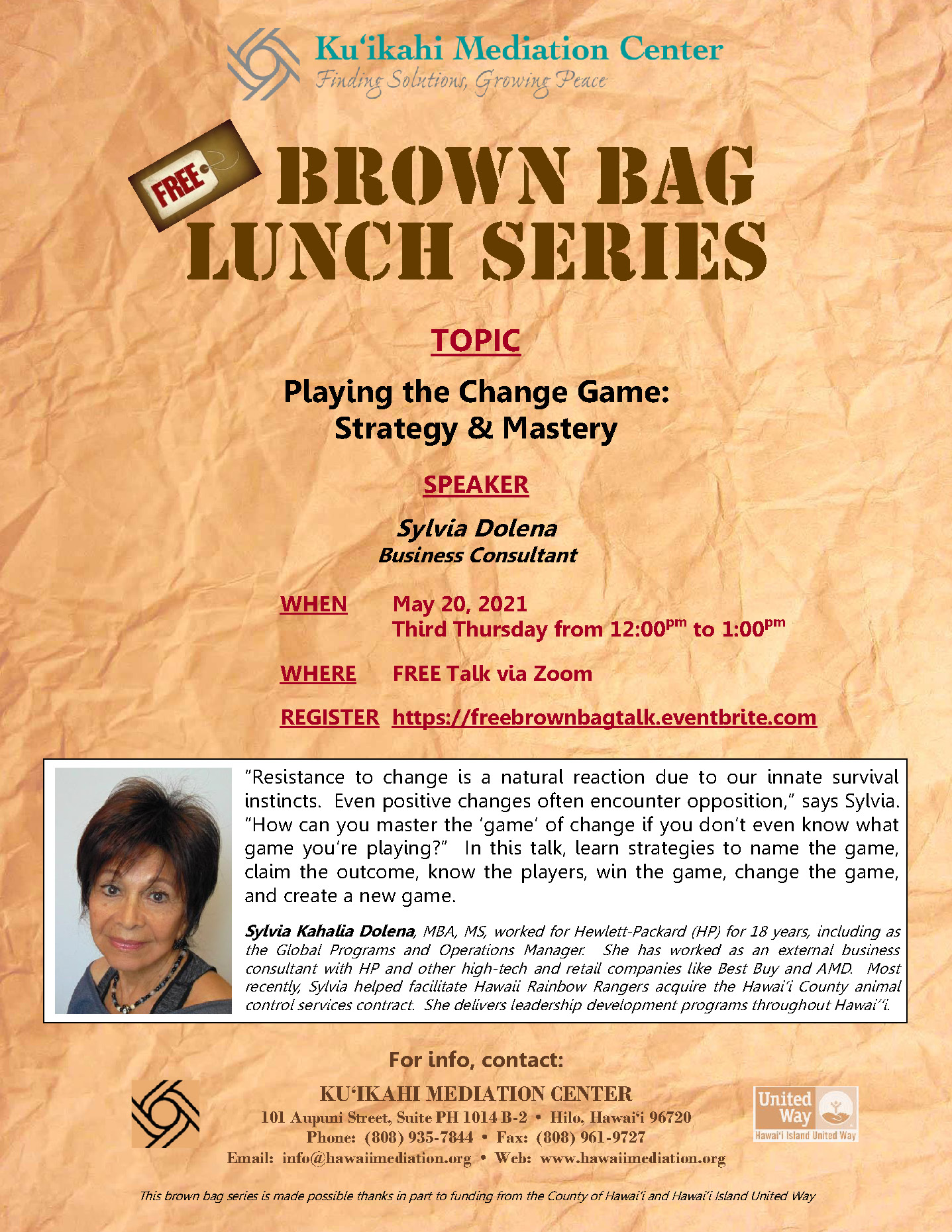 Flyer - Brown Bag Sylvia Dolena 5-20-21