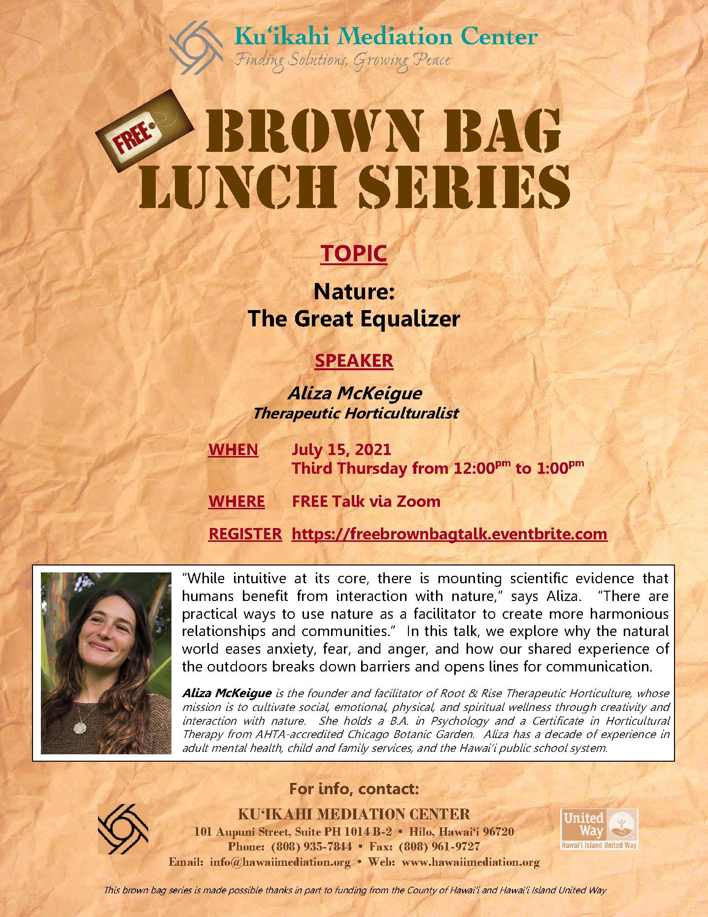 Flyer - Brown Bag Aliza McKeigue 7-15-21