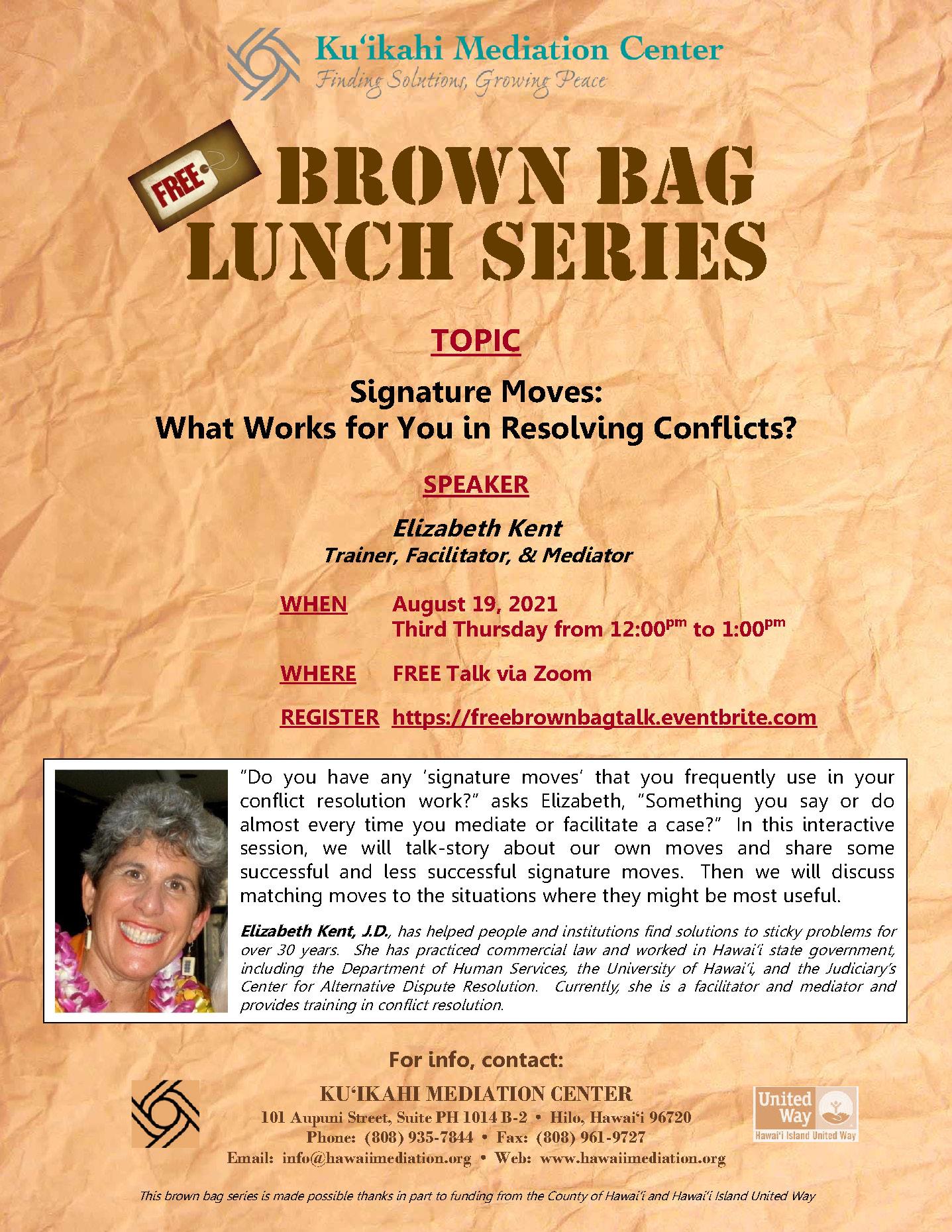 Flyer - Brown Bag Elizabeth Kent 8-19-21